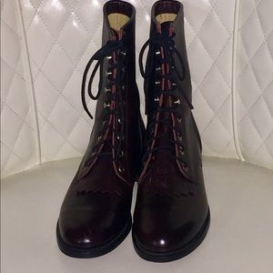 Justin 9B Lace Up Burgundy Leather Boots